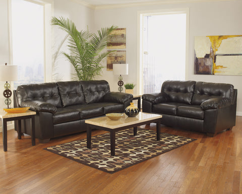 Alliston DuraBlend Contemporary  Chocolate Color Faux Leather Sofa And Loveseat