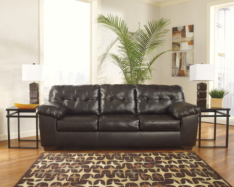 Alliston DuraBlend Contemporary  Chocolate Color Faux Leather Sofa