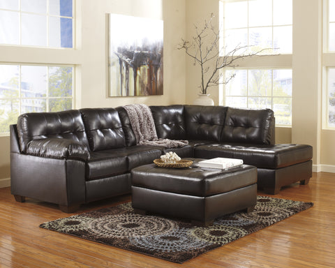 Alliston DuraBlend Contemporary  Chocolate Color Faux Leather Sectionals Sofa And Ottoman
