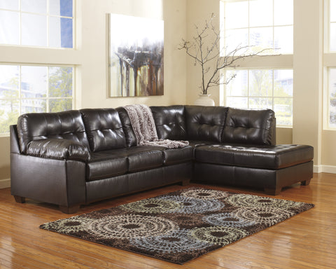 Alliston DuraBlend Contemporary  Chocolate Color Faux Leather Sectionals Sofa