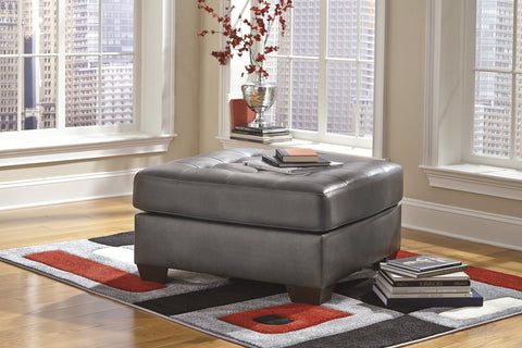 Alliston DuraBlend Contemporary  Gray Color Faux Leather Oversized Accent Ottoman