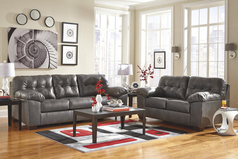 Alliston DuraBlend Contemporary  Gray Color Faux Leather Sofa And Loveseat