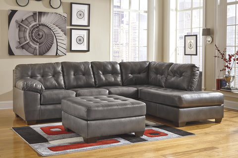 Alliston DuraBlend Contemporary  Gray Color Faux Leather Sectionals Sofa And Ottoman