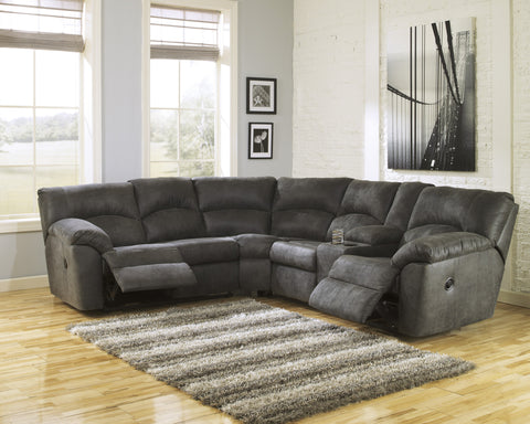 ... Tambo Contemporary Pewter Microfiber Reclining Sectional Sofa ...