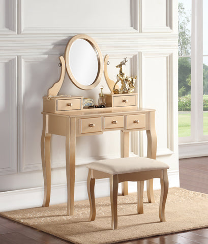 Ashley Wood Makeup Vanity Table and Stool Set, Gold