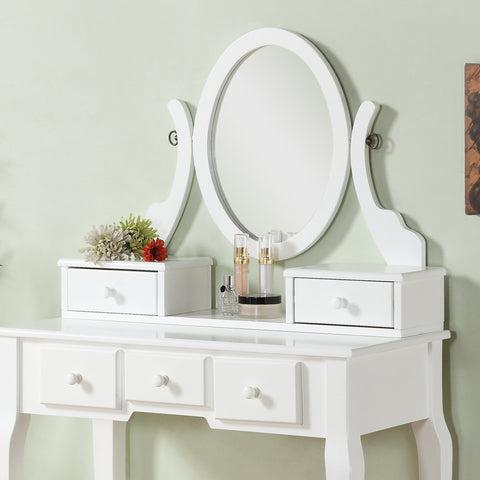 wood makeup vanity table and stool set white furnituremaxx