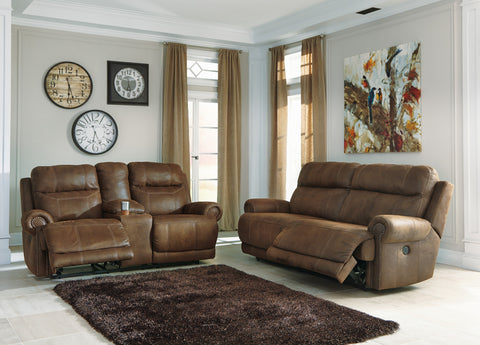 Austere Contemporary Brown Faux leather 2 Seat Reclining Power Sofa And Loveseat w/Console
