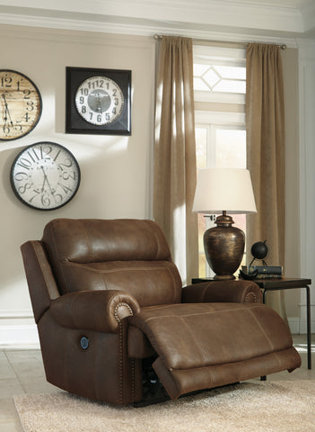 Austere  Contemporary Brown Color soft Upholstery Zero Wall Power King Size Wide Recliner