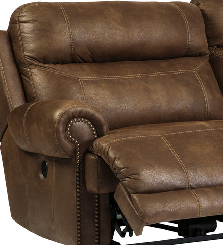 austere brown faux leather double recliner loveseat wconsole