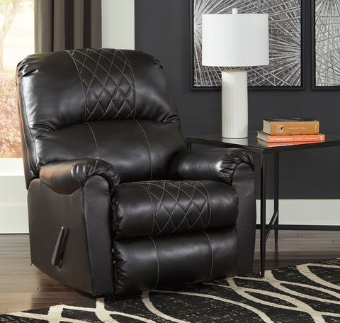 Arlon Contemporary Black Faux Leather Rocker Recliner