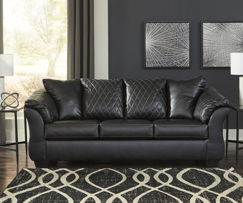 Arlon Contemporary Black Faux Leather Sofa