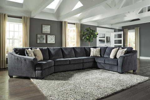 Eltmann Contemporary Slate Color Fabric Right Cuddler Sectional Sofa