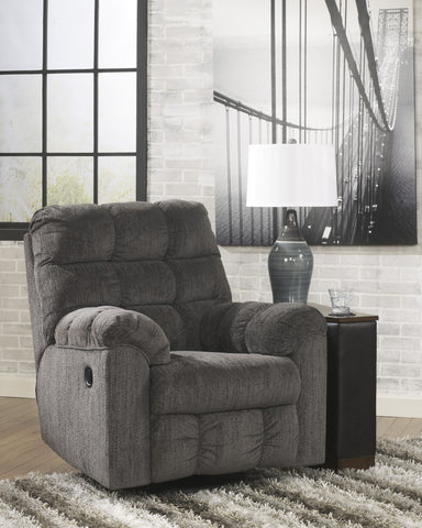 Acieona Slate Fabric Contemporary Swivel Rocker Recliner Chair