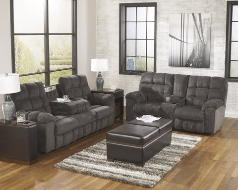 Acieona Contemporary Slate Fabric Reclining Sofa w/Drop Down Table And Loveseat w/Console