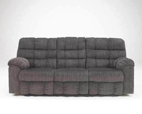 Acieona Contemporary Slate Fabric Reclining Sofa w/Drop Down Table
