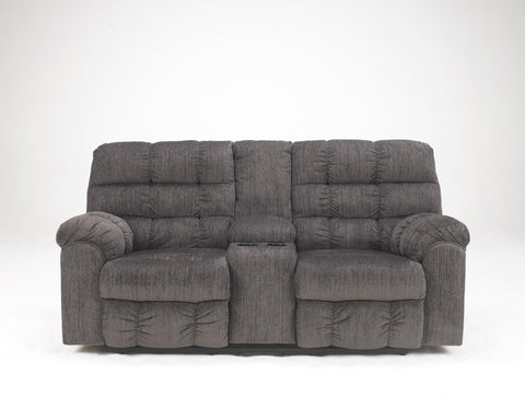 Acieona Contemporary Slate Fabric Double Reclining Loveseat w/Console