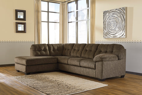 Accrington Contemporary Earth Color Padded Microfiber Left Corner Chaise Sectional Sofa
