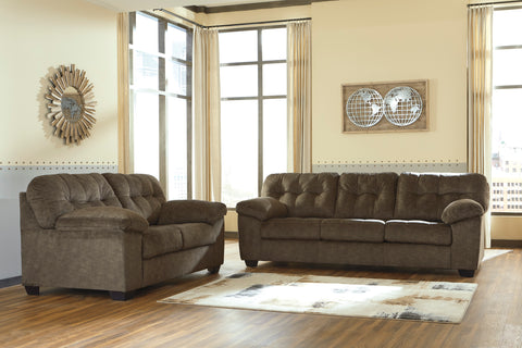 Accrington Contemporary Earth Color Padded Microfiber Sofa And Loveseat