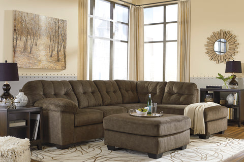 Accrington Contemporary Earth Color Padded Microfiber Right Corner Chaise Sectional Sofa With Ottoman