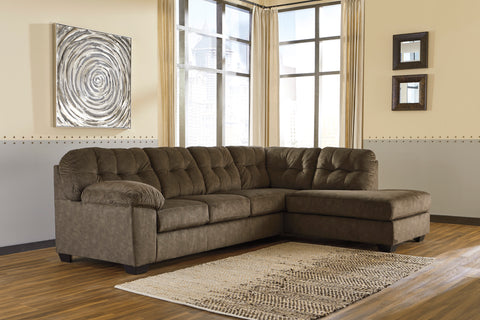 Accrington Contemporary Earth Color Padded Microfiber Right Corner Chaise Sectional Sofa