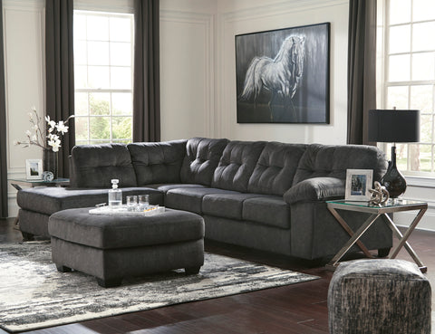 Accrington Contemporary Granite Color Padded Microfiber Left Corner Chaise Sectional Sofa With Ottoman