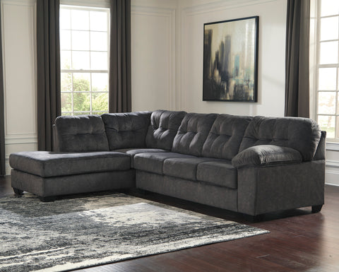 Accrington Contemporary Granite Color Padded Microfiber Left Corner Chaise Sectional Sofa