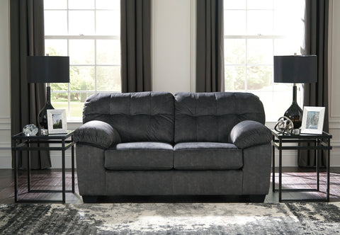 Accrington Contemporary Granite Color Padded Microfiber Loveseat