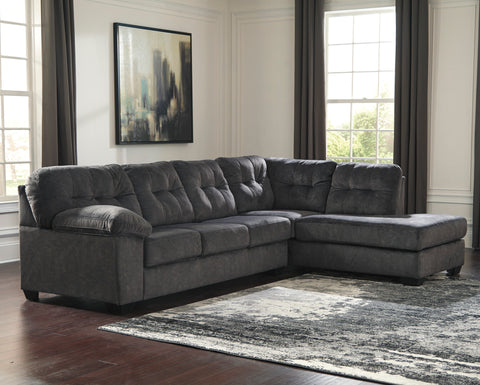 Accrington Contemporary Granite Color Padded Microfiber Right Corner Chaise Sectional Sofa