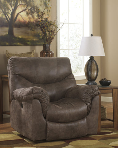 Alzena DuraBlend Contemporary Gunsmoke Faux Leather Rocker Recliner Chair