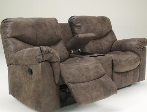 Alzena Contemporary Gunsmoke Faux Leather Reclining Sofa And