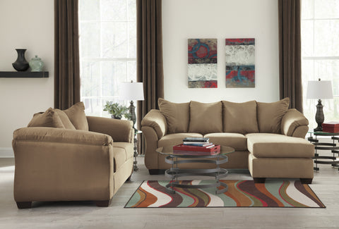 Darcyl DuraBlend Contemporary Mocha Color Microfiber Sofa Chaise And  Loveseat