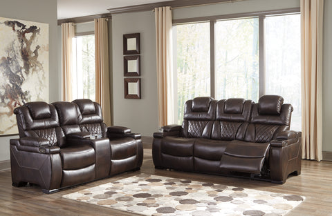 Warnerton Contemporary Chocolate Color PU Leather Power Reclining Sofa  Loveseat with Adjustable Headrest