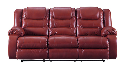 Vacherie Contemporary Salsa Color Faux Leather Reclining Sofa