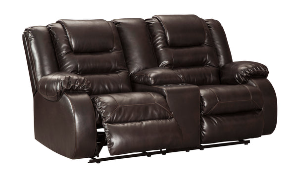 Surprising Vacherie Contemporary Chocolate Color Faux Leather Reclining Loveseat With Console Creativecarmelina Interior Chair Design Creativecarmelinacom
