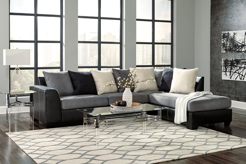Hamina Contemporary Charcoal Faux Leather Right Corner Chaise Sectional Sofa