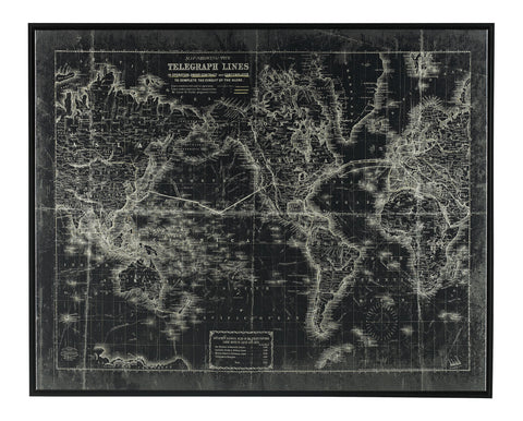 Berit Black White World Map Wall Art