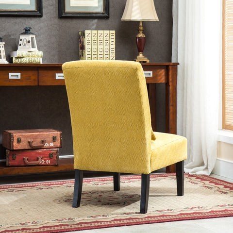 Phenomenal Pisano Yellow Chenille Fabric Armless Contemporary Accent Chair With Pillow Squirreltailoven Fun Painted Chair Ideas Images Squirreltailovenorg
