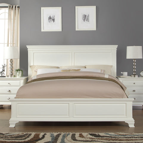 Laveno 012 White Wood Bedroom Set - King Bed Dresser Mirror 2 Night Stands