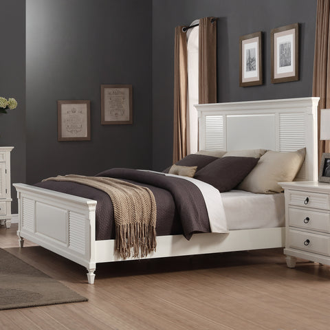 Regitina 016 White Bedroom Furniture Set King Bed Dresser Mirror 2  Nightstands Chest
