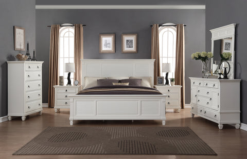 Regitina 016 White Bedroom Furniture Set King Bed Dresser Mirror 2