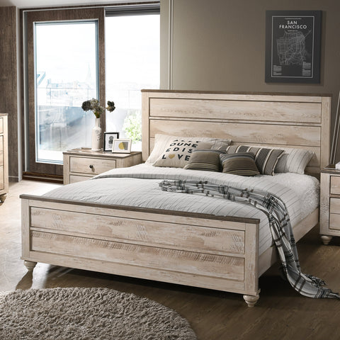 Imerland Contemporary White Wash Finish 5-Piece Bedroom Set-King Bed,  Dresser, Mirror, 2 Nightstands