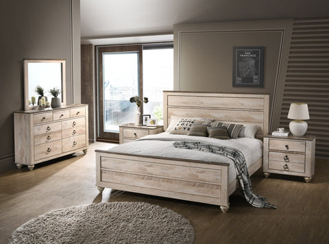 Imerland Contemporary White Wash Finish 5-Piece Bedroom Set-King Bed ...