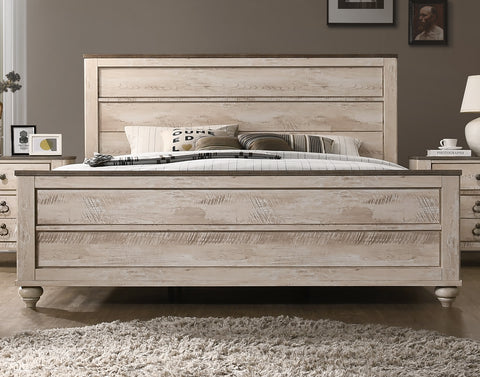 Imerland Contemporary White Wash Finish Bedroom Set, King Bed, Dresser,  Mirror, Nightstand and Chest