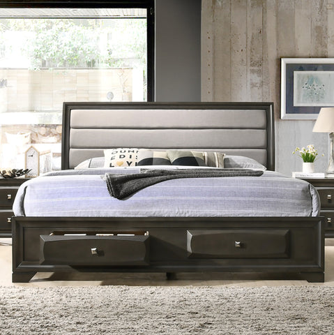 Asger Antique Gray Finish King Size Storage Platform Bed With Fabric