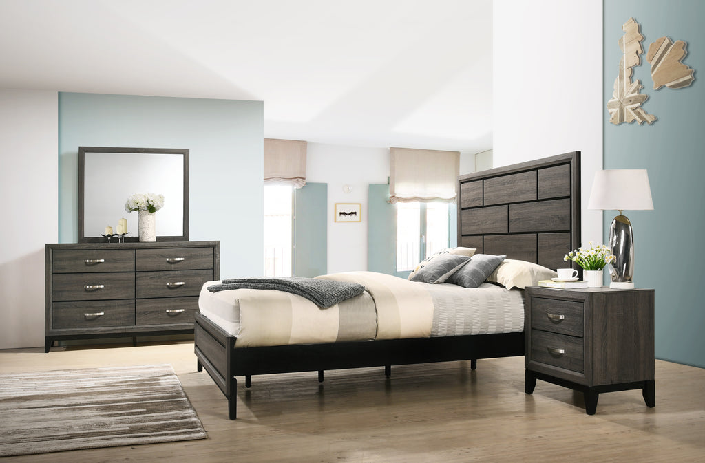 Stout Panel Queen Size Bedroom Set with Bed, Dresser, Mirror, Night Stand