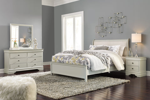 Ararat Louis Phillippe Style Queen Uplostered Sleigh Bed with Dresser, Mirror, 2 Nightstands