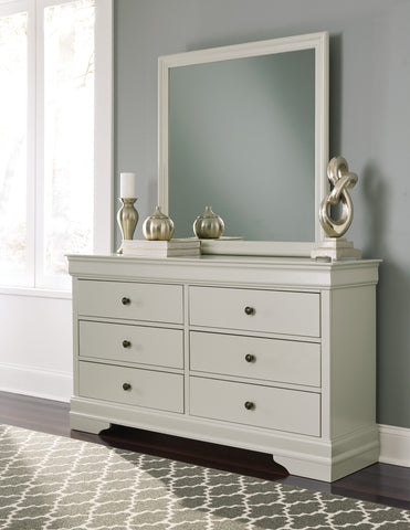 Ararat Louis Phillippe Style Dresser and Mirror in Light Gray
