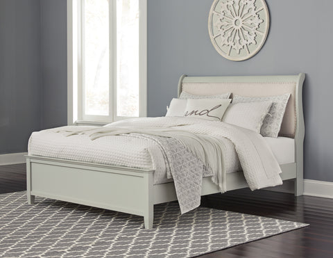 Ararat Louis Phillippe Style Uplostered Sleigh Bed in Light Gray, Queen