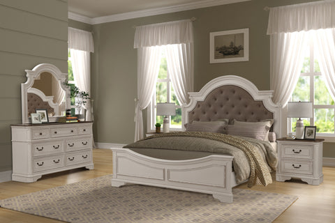 new style 3a54e cacd8 Laval Antique White and Oak Wood Bedroom Set, Upholstered King Bed,  Dresser, Mirror, Two Nightstands
