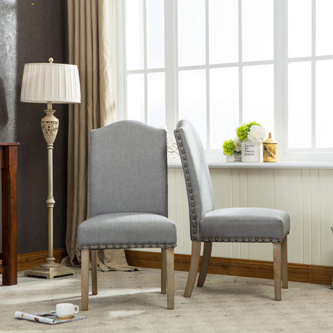 ... Mod Urban Style Solid Wood Nailhead Grey Fabric Padded Parson Chair,  Set Of 2 ...